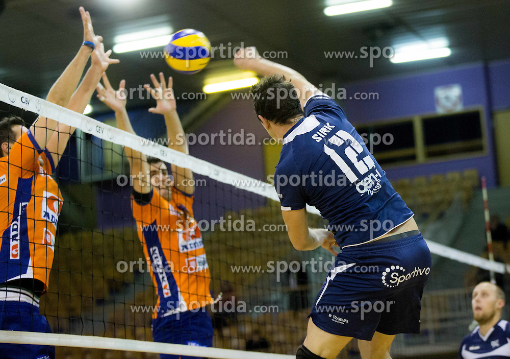 Gregor Sirk of Go Volley during volleyball match between ACH Volley Ljubljana and GO Volley Nova Gorica in 11th Round of 1. DOL 2014/15, on November 13, 2014 in Hala Tivoli, Ljubljana, Slovenia. Photo by Vid Ponikvar / Sportida