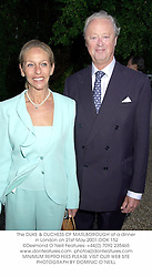 The DUKE & DUCHESS OF MARLBOROUGH at a dinner in London on 21st May 2001.OOK 152