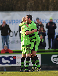 Forest Green Rovers's Charlie Clough celebrates his goal with Forest Green Rovers's Jonathan Parkin. - Photo mandatory by-line: Nizaam Jones - Mobile: 07966 386802 - 21/02/2015 - SPORT - Football - Nailsworth - The New Lawn - Forest Green Rovers v AFC Telford - Vanarama Football Conference
