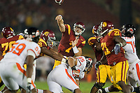 24 October 2009: Quarterback (7) Matt Barkley of the USC Trojans passes the ball against the Oregon St. Beavers during the first half of USC's 42-36 victory over Oregon St. at the Coliseum in Los Angeles, CA