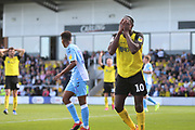Burton Albion forward Lucas Akins (10) reacts as he misses a chance during the EFL Sky Bet League 1 match between Burton Albion and Coventry City at the Pirelli Stadium, Burton upon Trent, England on 14 September 2019.