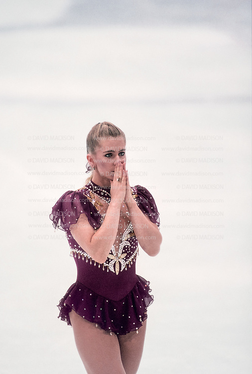 LILLEHAMMER, NORWAY -  FEBRUARY 25:  Tonya Harding of the USA competes in the Free Skate portion of the Women's Figure Skating competition of the 1994 Winter Olympics on February 25, 1994 at the Hamar Olympic Hall in Lillehammer, Norway. (Photo by David Madison/Getty Images) *** Local Caption *** Tonya Harding