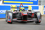 Venturi driver, Mike Conway with a wheel in the air during Round 9 of Formula E, Battersea Park, London, United Kingdom on 2 July 2016. Photo by Matthew Redman.