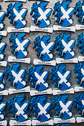 Tourist fridge magnets with Scottish flag for sale in tourist souvenir shop in Edinburgh, Scotland, United Kingdom.
