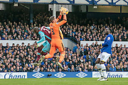 Adrian (West Ham United) makes a save under pressure from his own defender while Romelu Lukaku (Everton) watches on during the Premier League match between Everton and West Ham United at Goodison Park, Liverpool, England on 30 October 2016. Photo by Mark P Doherty.
