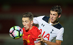 STEVENAGE, ENGLAND - Monday, September 19, 2016: Liverpool's captain Harry Wilson in action against Tottenham Hotspur's Charlie Owens during the FA Premier League 2 Under-23 match at Broadhall. (Pic by David Rawcliffe/Propaganda)