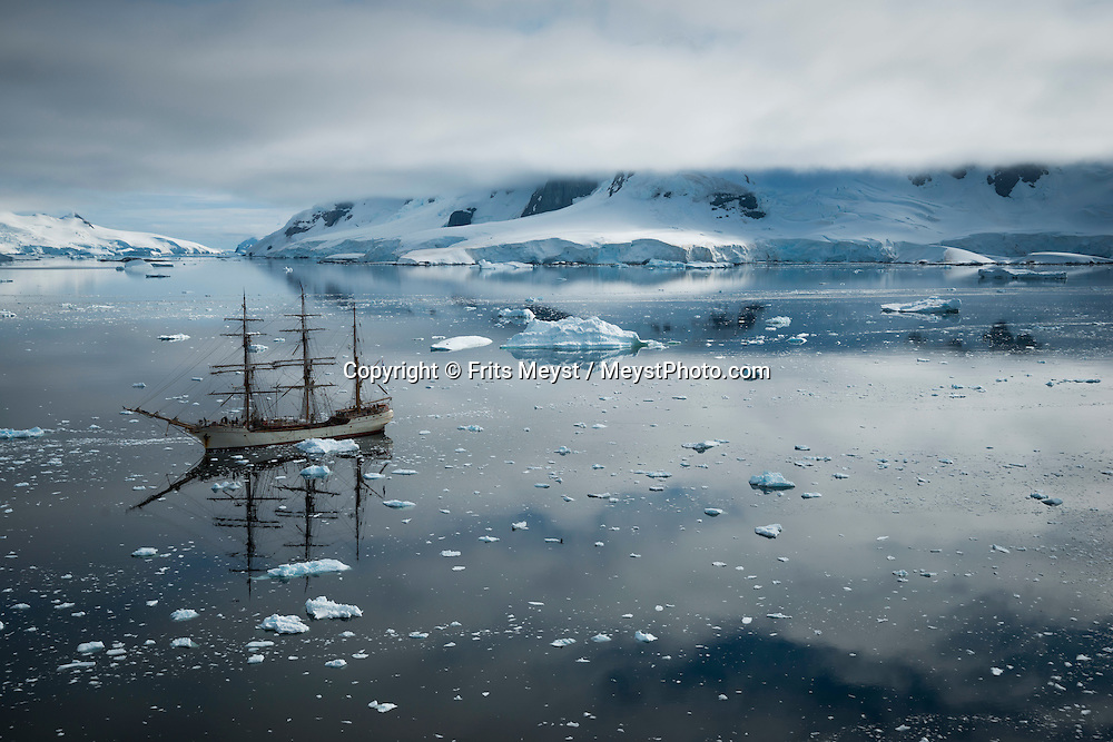 Antarctica, February 2016. Paradise is a gorgeous bay surrounded by high mountains and huge glaciers fronts, where the Argentinean Station Brown is located. Dutch Tallship, Bark Europa, explores Antarctica during a 25 day sailing expedition. Photo by Frits Meyst / MeystPhoto.com