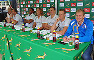 CAPE TOWN, SOUTH AFRICA - OCTOBER 15 2015, Kyle Brown, Frankie Horne, Justin Geduld, Carel du Preez, Dylan Sage and Philip Snyman during the Springbok 7's Try Dive competition at the University of Cape Town's Jameson Plaza for the Cape Town 7s taking place at Cape Town Stadium on12&amp;13 December 2015.<br /> Photo by Roger Sedres/ImageSA