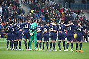 West Ham United players observe the minutes silence during the Premier League match between Burnley and West Ham United at Turf Moor, Burnley, England on 9 November 2019.