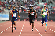Jun 16, 2019; Rabat, Morocco; Andre De Grasse (CAN), left, defeats Kenny Bednarek (USA) and Ramil Guliyev (TUR) to win the 200m in 20.19 during the Meeting International Mohammed VI d'Athletisme de Rabat at Prince Moulay Abdellah Stadium.