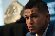 DALLAS, TX - MARCH 12:  UFC lightweight champion Anthony Pettis speaks with the media during the UFC 185 Ultimate Media Day at the American Airlines Center on March 12, 2015 in Dallas, Texas. (Photo by Cooper Neill/Zuffa LLC/Zuffa LLC via Getty Images) *** Local Caption *** Anthony Pettis