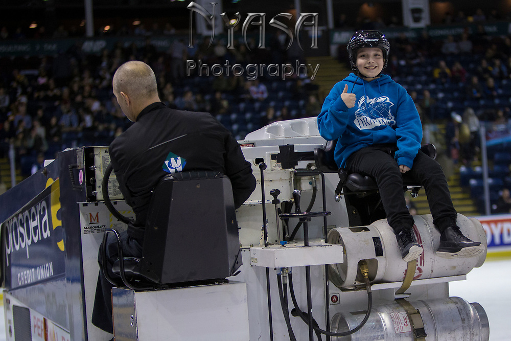 KELOWNA, CANADA - FEBRUARY 07:  Orchard Park Zamboni Rider at the Kelowna Rockets game on February 07, 2018 at Prospera Place in Kelowna, British Columbia, Canada.  (Photo By Cindy Rogers/Nyasa Photography,  *** Local Caption ***