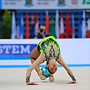 "Lopez Grisbel during ball routine at the International Tournament of rhythmic gymnastics ""Città di Pesaro"", 10 April, 2015. Grisbel born on September 09,1995 in Valencia, is a Venezuelan rhythmic gymnast.<br />