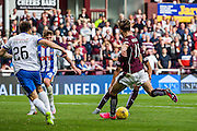 Hearts FC Midfielder Sam Nicholson shooting during the Ladbrokes Scottish Premiership match between Heart of Midlothian and Kilmarnock at Tynecastle Stadium, Gorgie, Scotland on 3 October 2015. Photo by Craig McAllister.