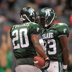 20 September 2008: Tulane wide receiver Jeremy Williams (20) is congratulated by teammate Brian King (83) after scoring a touchdown in the second half during a Conference USA match up between the University of Louisiana Monroe and Tulane at the Louisiana Superdome in New Orleans, LA.