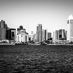 San Diego skyline buildings black and white photo with San Diego Bay in Southern California. Photo is high resolution and was taken in 2012.