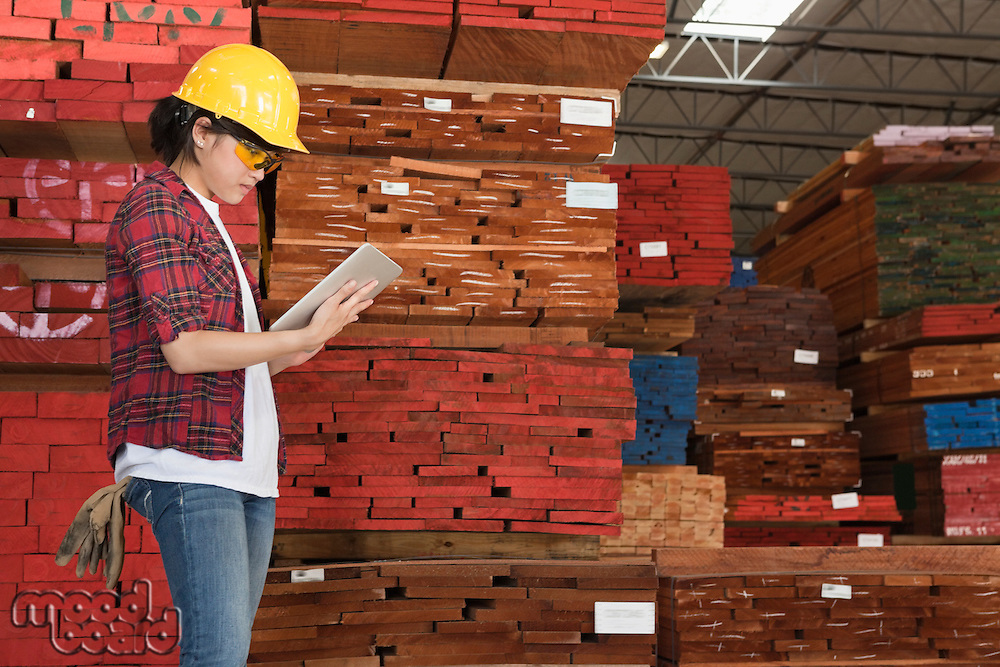 Side view of an Asian female industrial worker working on tablet PC with stacked wooden planks in background