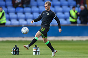 Forest Green Rovers George Williams(11) warming up during the EFL Sky Bet League 2 match between Macclesfield Town and Forest Green Rovers at Moss Rose, Macclesfield, United Kingdom on 29 September 2018.