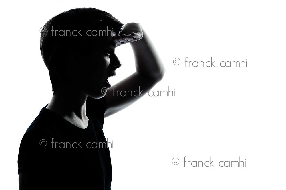 one caucasian young teenager silhouette boy or girl  looking foward  portrait in studio cut out isolated on white background