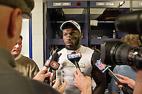 20 January 2013: Linebacker (52) Patrick Willis of the San Francisco 49ers speaks to the media in the locker room after defeating the Atlanta Falcons 28-24 in the NFC Championship Game at the Georgia Dome in Atlanta, GA to go to Superbowl XLVII.