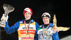 06.01.2015, Paul Ausserleitner Schanze, Bischofshofen, AUT, FIS Ski Sprung Weltcup, 63. Vierschanzentournee, Siegerehrung Gesamtwertung, im Bild v.l. Michael Hayboeck (AUT, 2. Platz), Stefan Kraft (AUT, 1. Platz) // Michael Hayboeck of Austria ( L ), 1st placed Stefan Kraft of Austria ( R ) celebrate theire victory during Overall Award ceremony of 63rd Four Hills Tournament of FIS Ski Jumping World Cup at the Paul Ausserleitner Schanze, Bischofshofen, Austria on 2015/01/06. EXPA Pictures © 2015, PhotoCredit: EXPA/ Johann Groder