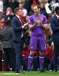 Arsenal's Aaron Ramsey and Petr Cech applaud the fans on the pitch after the final whistle of the Premier League match at the Emirates Stadium, London.