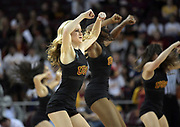 Feb 15, 2018; Los Angeles, CA, USA; Southern California Trojans dance force cheerleaders perform during an NCAA basketball game against the Oregon Ducks at Galen Center.