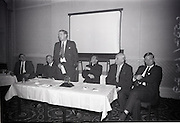 28/06/1965<br /> 06/28/1965<br /> 28 June 1965<br /> Reception for presentation of funding by W.D. & H.O., Wills to Glenageary Horse Show Committee at the Royal Marine Hotel, Dun Laoghaire, Dublin. Image shows (l-r): Mr. P.T. Fining, P.R.O. Glenageary Horse Show; Mr. Liam Cosgrove T.D.; Mr. D.R. Mott, Managing Director, W.D. & H.O., Wills (Ireland); Rev. Fr. R. O'Donoghue C.C., Glenageary; Mr. D. Bloomer, Chairman, Show Committee and Mr. David Andrews T.D. during Mr. Mott's speech.
