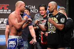 Las Vegas, NV - December 28, 2012: Tim Boetsch and Constantine Philippou weigh in for their main card bout at UFC 155 at MGM Grand Garden Arena in Las Vegas, Nevada.