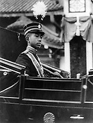 Hirohito, Emperor Showa (1901-1989), 124th Emperor of Japan from 1926.   Hirohito in 1912 when on the death of his grandfather Emperor Meiji he became heir apparent. Head and shoulders view of him riding in a carriage.
