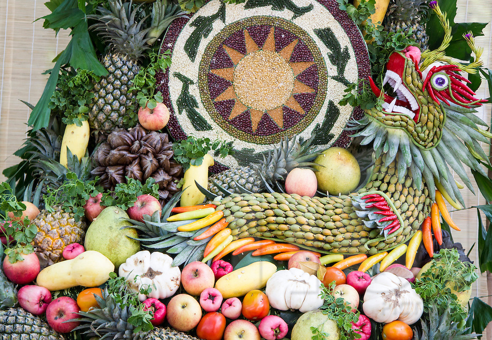 Food art created from fruits, vegetables and beans, Ho Chi Minh City, Vietnam, Southeast Asia