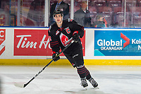 KELOWNA, BC - JANUARY 16: Josh Brook #2 of the Moose Jaw Warriors warms up against the Kelowna Rockets at Prospera Place on January 16, 2019 in Kelowna, Canada. (Photo by Marissa Baecker/Getty Images)