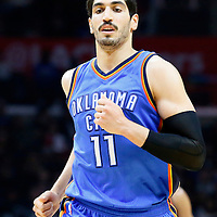 21 December 2015: Oklahoma City Thunder center Enes Kanter (11) is seen during the Oklahoma City Thunder 100-99 victory over the Los Angeles Clippers, at the Staples Center, Los Angeles, California, USA.