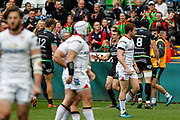 Ospreys wing Tom Habberfield celebrates scoring his teams first try during the Guinness Pro 12 2017 Round 21 match between Ospreys and Ulster at the Liberty Stadium, Swansea, Wales on 29 April 2017. Photo by Andrew Lewis.