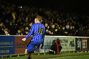 Alfie Egan shows his passion during the FA Youth Cup match between U18 AFC Wimbledon and U18 Chelsea at the Cherry Red Records Stadium, Kingston, England on 9 February 2016. Photo by Michael Hulf.