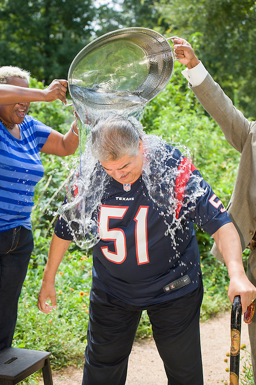 Houston ISD trustee Manuel Rodriguez, Jr, takes the ALS Ice Bucket Challenge, August 21, 2014.