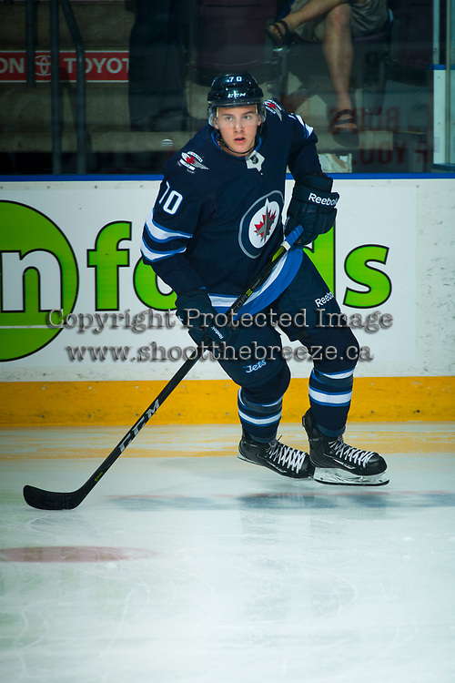 PENTICTON, CANADA - SEPTEMBER 8: Leo Gawanke #70 of Winnipeg Jets warms up against the Vancouver Canucks on September 8, 2017 at the South Okanagan Event Centre in Penticton, British Columbia, Canada.  (Photo by Marissa Baecker/Shoot the Breeze)  *** Local Caption ***