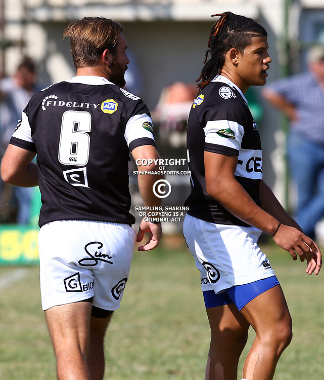 Michael Meyer (Captain) with Alwayno Visagie of the Cell C Sharks Under 21's during The Cell C Shark 21's and Leopards  21's Currie Cup at Growthpoint Kings Park KP2 in Durban, South Africa. 8th September  2017 (Photo by ( Steve Haag Sports)