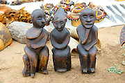 Africa, Ethiopia, Omo River Valley Hamer Tribe handmade figurines on display