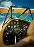 The cockpit of a WACO YMF-5C, owned by Steve Collins of Atlanta.