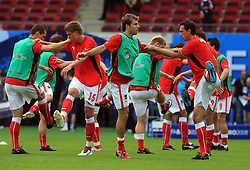 Austrian team warming up before the UEFA EURO 2008 Group B soccer match between Austria and Croatia at Ernst-Happel Stadium, on June 8,2008, in Vienna, Austria.  (Photo by Vid Ponikvar / Sportal Images)