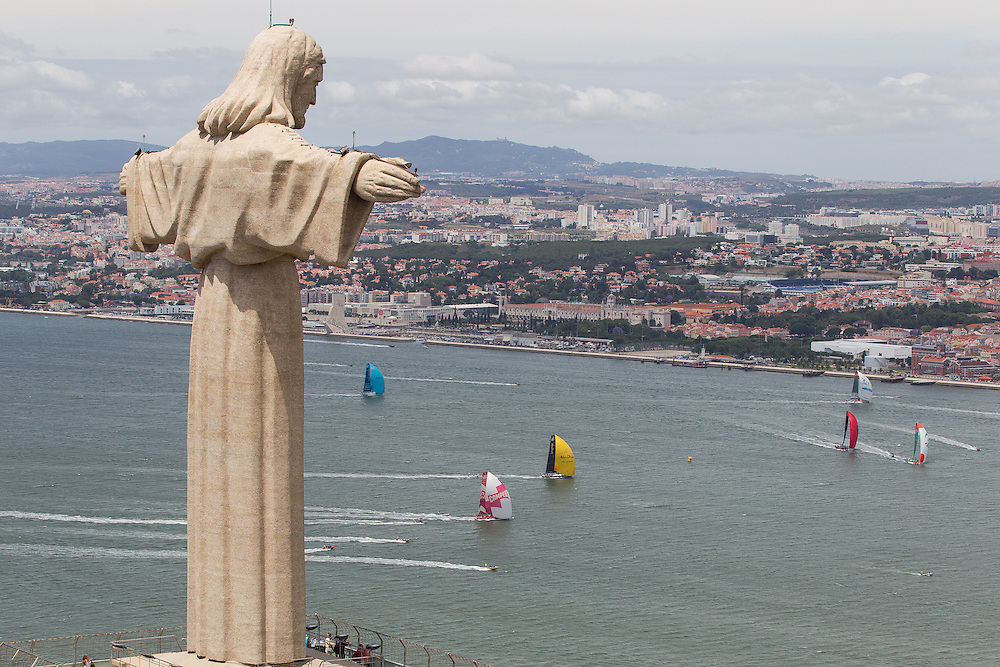 PORTUGAL, Lisbon. 9th June 2012. Volvo Ocean Race, Oeiras In-Port Race. Christ the King statue.