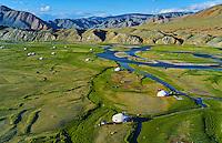 Mongolie, province de Bayan-Ulgii, delta de la ruviere Sagsay dans le massif de l'Altai // Mongolia, Bayan-Ulgii province, western Mongolia, the delta of the Sagsay river in the Altay mountains