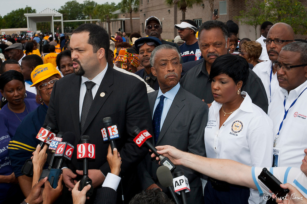 March 31, 2012 - Sanford, Florida, U.S. - NAACP President BENJAMIN JEALOUS speaks to the media before the rally in Sanford, Florida for the justice of Treyvon Martin.