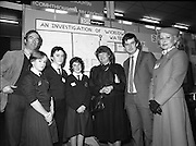 11/01/1985.01/11/1985.11th January 1985.The Aer Lingus Young Scientist Exhibition at the RDS Dublin ..Gemma Hussey, T.D. (5th from left) Minister fro Education and George Birmingham, T.D. Minister of State at the Department of Labour, (6th from left) chatting with Avril Sillery, (2nd from left) John O'Neill (3rd from left) and Eilish Barry (4th from left), all from the Vocational School, Wicklow Town, at their stand showing their project 'Investigation of Wicklow Water' with Jim Murray, teacher from Wicklow Vocational School and Aer Lingus Hostess Sally Ann Flanagan.