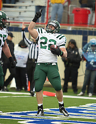 Ohio running back Beau Blankenship (22) points to the sky celebrating a touchdown run against Louisiana-Monroe during the first quarter of the Advocare V100 Independence Bowl NCAA college football game, Friday, Dec. 28, 2012, in Shreveport, La.