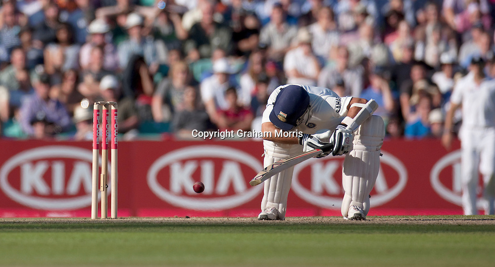 Sachin Tendulkar is struck by a ball from Stuart Broad during the fourth and final npower Test Match between England and India at the Oval, London.  Photo: Graham Morris