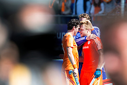 THE HAGUE - Rabobank Hockey World Cup 2014 - 13-06-2014 - MEN - SEMI-FINAL THE NETHERLANDS - ENGLAND 1-0 - Mink van der Weerden en Robert van der Horst (c) en Jaap STOCKMANN (GK).<br /> Copyright: Willem Vernes