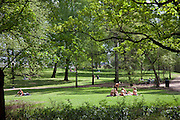 Park surrounding Royal Palace, Oslo, Norway, on a warm summer day.
