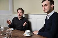 19 MAR 2018, BERLIN/GERMANY:<br /> Kevin Kuehnert (L), SPD, Bundesvorsitzender der Jusos, und Paul Ziemiak (R), MdB, CDU, Bundesvorsitzender der Jungen Union, waehrend einem gemeinsamen Interview, Restaurant Habel am Reichstag<br /> IMAGE: 20180319-01-006<br /> KEYWORDS: Kevin K&uuml;hnert